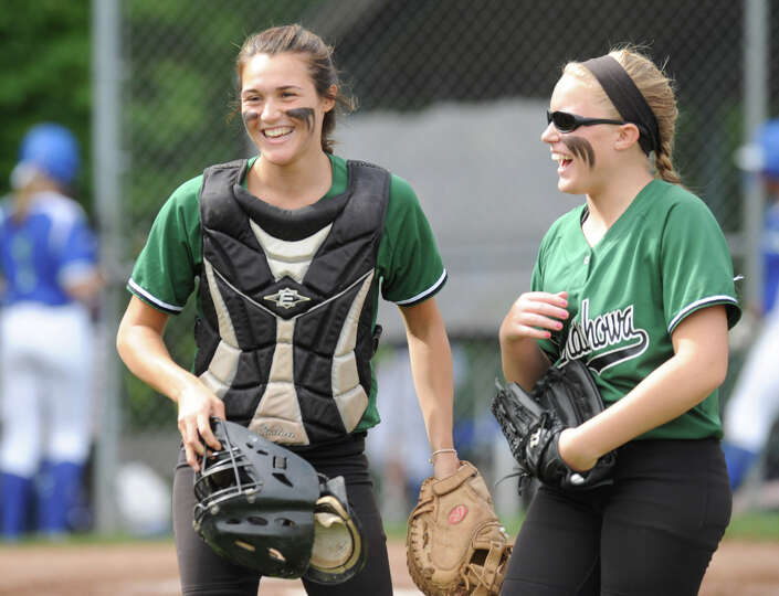 Shenendehowa catcher Caitlin Lawson and pitcher Erika Daigle share a laugh during a state Class AA r