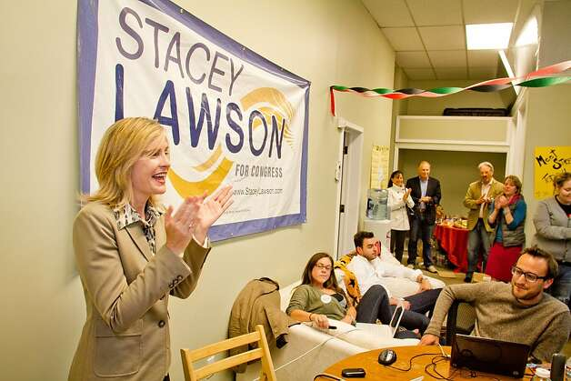 Congressional candidate Stacey Lawson claps after the polls closed at  her campaign headquarters in Mill Valley, Calif., on Tuesday,  June 5th, 2012. Photo: John Storey, Special To The Chronicle