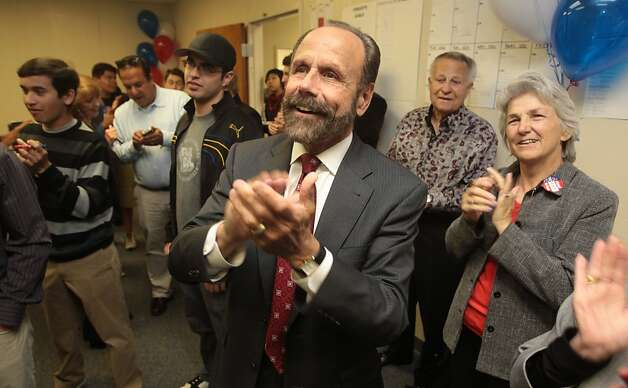 District 13 state senate candidate Jerry Hill and supporters applaud early returns that show Hill has an early lead in Redwood City, Calif. on Tuesday, June 5, 2012. Photo: Mathew Sumner, Special To The Chronicle