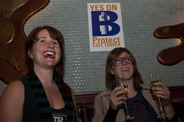 Jessica Gottstein (left) and her sister Jenny (right) sit at a election night party thrown by Protect Coit Tower, responsible for putting Proposition B to voters on Tuesday, June 5, 2012 in San Francisco, Calif. The sisters are the great grandchildren of Coit Tower's muralist Bernard Zakheim. If passed, the advisory measure would limit the uses at Coit Tower and urge officials to use the money generated there to preserve the Depression-era frescoes.   Protect Coit Tower, which is responsible for putting Proposition B to voters, hold their election night party at Original Joes on Tuesday, June 5, 2012 in San Francisco, Calif. If passed, the advisory measure would limit the uses at Coit Tower and urge officials to use the money generated there to preserve the Depression-era frescoes. Photo: Dania Maxwell, Special To The Chronicle