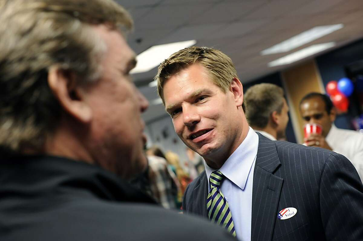 Eric Swalwell, Alameda County deputy District Attorney, waits for primary election results in Pleasanton, CA June 5th, 2012. Swalwell is running against Pete Stark in CD 15.