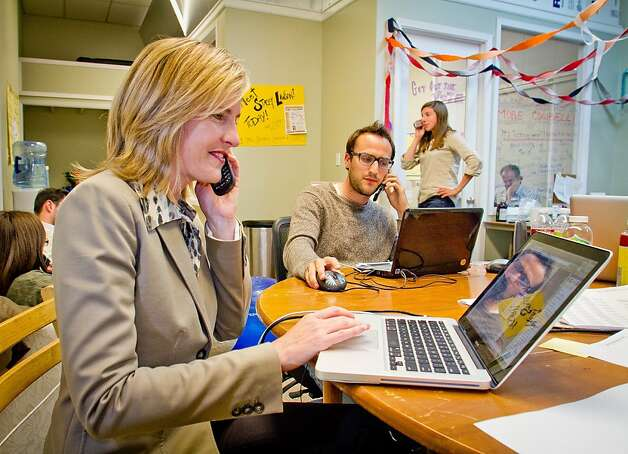 Congressional candidate Stacey Lawson with volunteers make last minute calls to voters before at  her campaign headquarters in Mill Valley, Calif., on Tuesday,  June 5th, 2012. Photo: John Storey, Special To The Chronicle