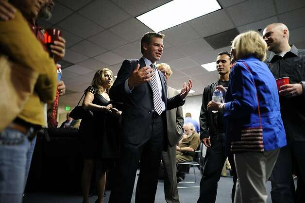 Eric Swalwell, Alameda County deputy District Attorney, waits for primary election results in Pleasanton, CA June 5th, 2012.  Swalwell is running against Pete Stark in CD 15. Photo: Michael Short, Special To The Chronicle