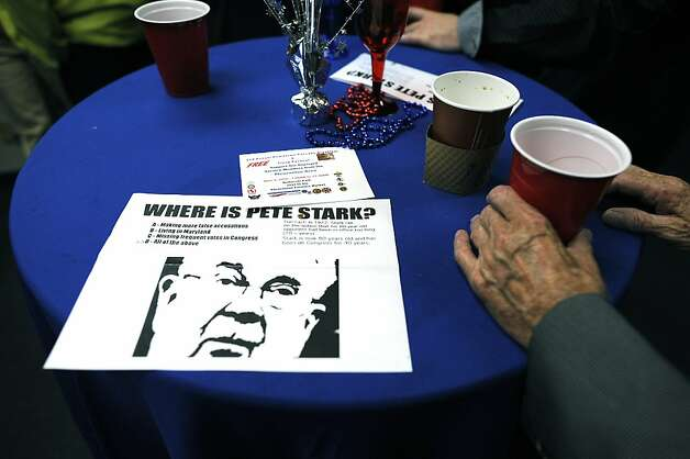 A flier depicting Pete Stark who Eric was running against is seen on a table.  Eric Swalwell, Alameda County deputy District Attorney, waits for primary election results in Pleasanton, CA June 5th, 2012.  Swalwell is running against Pete Stark in CD 15. Photo: Michael Short, Special To The Chronicle