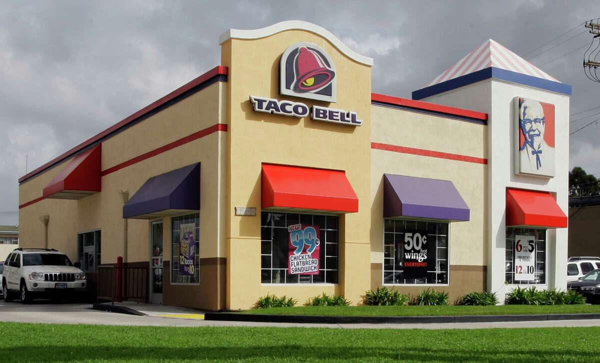 FILE- This Wednesday, Oct. 6, 2010, file photo, shows a Taco Bell restaurant, operated by the Fortune 500 company Yum! Brands, in Los Angeles. Taco Bell, often a late-night indulgence with its inexpensive fare, is going more upscale. The chain said Wednesday, June 6, 2012, it plans an early July rollout of a menu addition created by celebrity chef Lorena Garcia for its nearly 5,600 U.S. restaurants. (AP Photo/Reed Saxon)