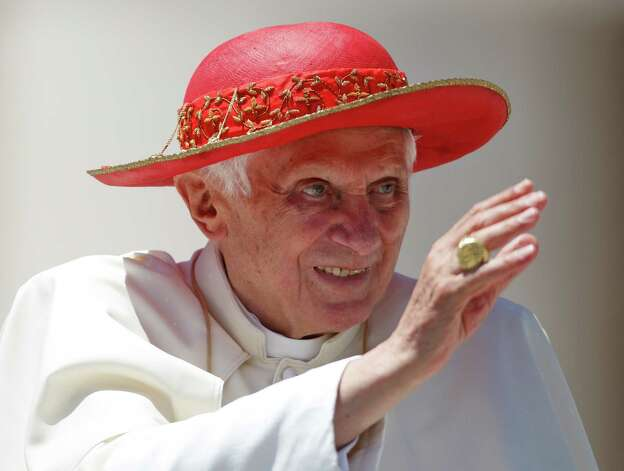 "Pope Benedict XVI blesses  faithful during the weekly general audience in St. Peter square at the Vatican, Wednesday, June 6, 2012. An upholder of orthodoxy -- once nicknamed ""God's rotweiler"" -- he He is the first Pope to abdicate in six centuries.  Photo: Ap/getty"