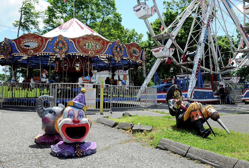 Rides and games are prepared on Wednesday, June 6, 2012, for the 2012 Greek Festival at the Greek Orthodox Church of the Annunciation on Newfield Avenue. The festival will start Thursday, June 7.