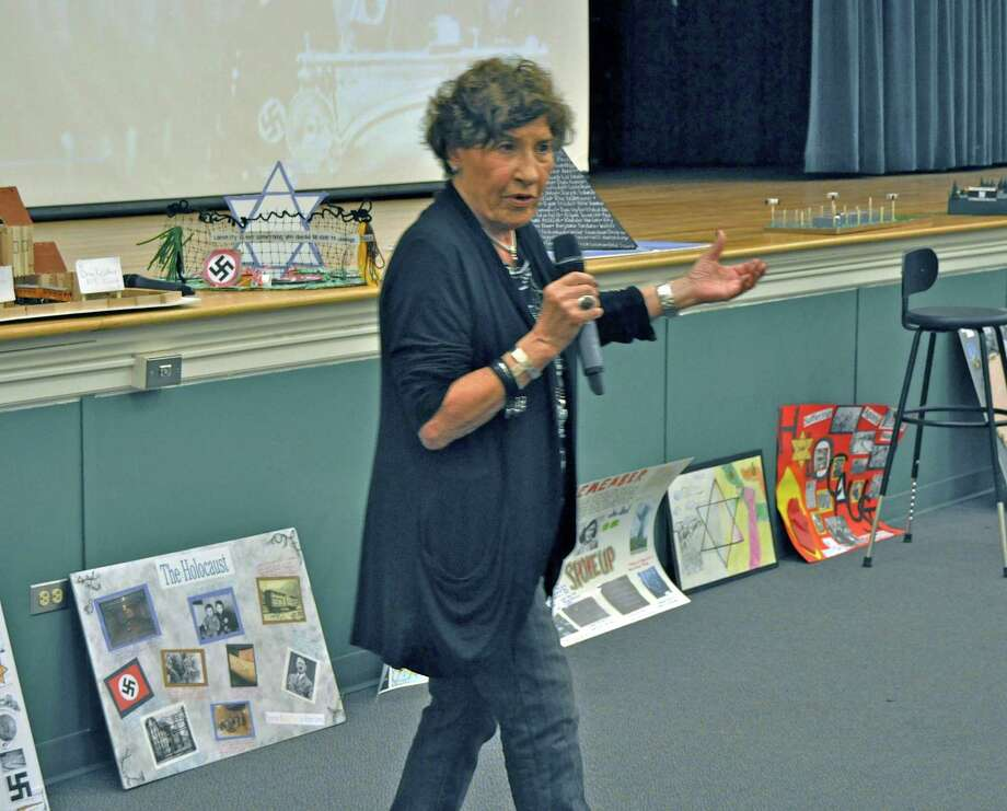 Middlesex Middle School seventh grade students hosted Anita Schorr recently. Schorr recalled her experiences as a young Jewish girl during the Holocaust. Darien, Conn. Photo: Contributed Photo