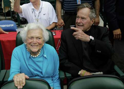 Former first lady Barbara Bush, who celebrates her birthday today, and former President George H.W.  Bush enjoy a Houston Astros baseball game in April.  Photo: File Photo, Associated Press