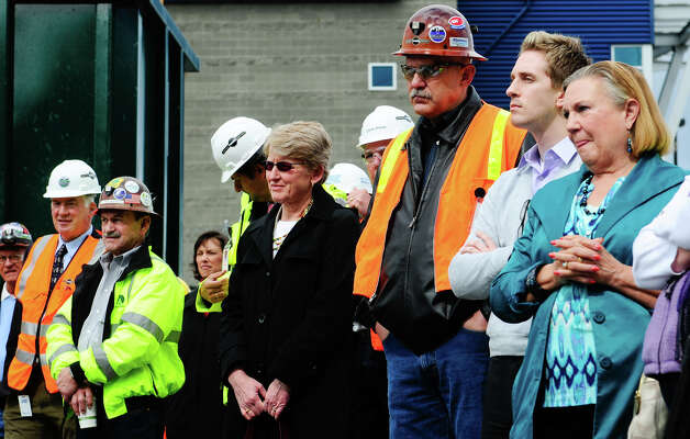 People watch Dow Constantine deliver a speech during the SR 99 Tunnel Project groundbreaking ceremony. Photo: LINDSEY WASSON / SEATTLEPI.COM