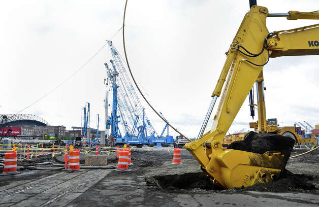 Various excavation and construction machinery are shown during the SR 99 Tunnel Project groundbreaking ceremony. Photo: LINDSEY WASSON / SEATTLEPI.COM