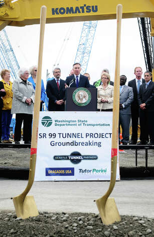 King County Executive Dow Constantine delivers a speech during the SR 99 Tunnel Project groundbreaking ceremony on 1st Ave S. near the waterfront. Photo: LINDSEY WASSON / SEATTLEPI.COM