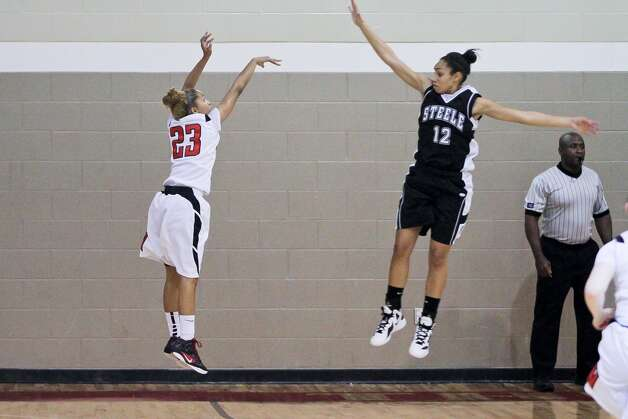 Wagner's Adriane Davis (left) fires a shot in a game against Steele. Photo: Courtesy Photo