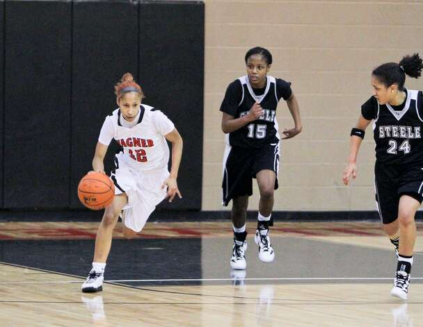Wagner's Aundrea Davis makes her way down the court in a game against Steele. Photo: Courtesy Photo