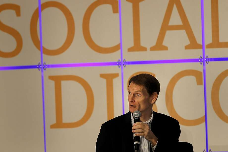 Joe Kennedy, the CEO of Pandora answered a question from the audience. Glimpse, a social discovery conference, for investors and media was held at the Marriott Union Square in San Francisco, Calif. Wednesday June 6, 2012. Photo: Brant Ward, The Chronicle