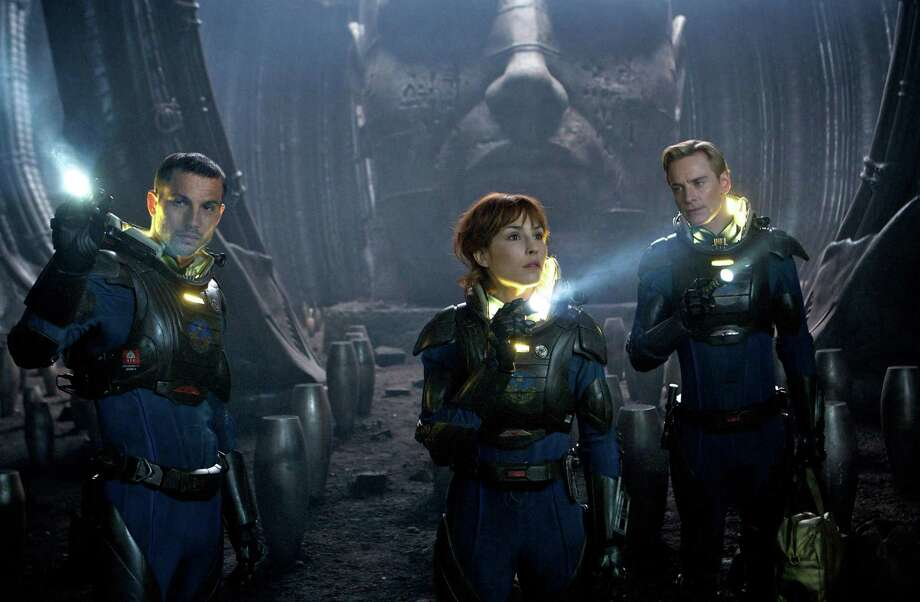 """""""Prometheus"""" also starred Noomi Rapace (center) and Michael Fassbender (right).  Photo: For San Antonio Express-News"""