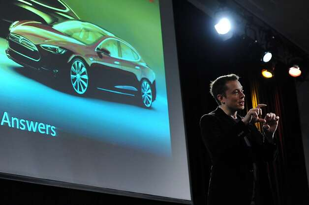 Tesla CEO Elon Musk talks with shareholders during its annual shareholders meeting at the Computer History Museum in Mountain View on Wednesday, June 6, 2012. Photo: Susana Bates, Special To The Chronicle