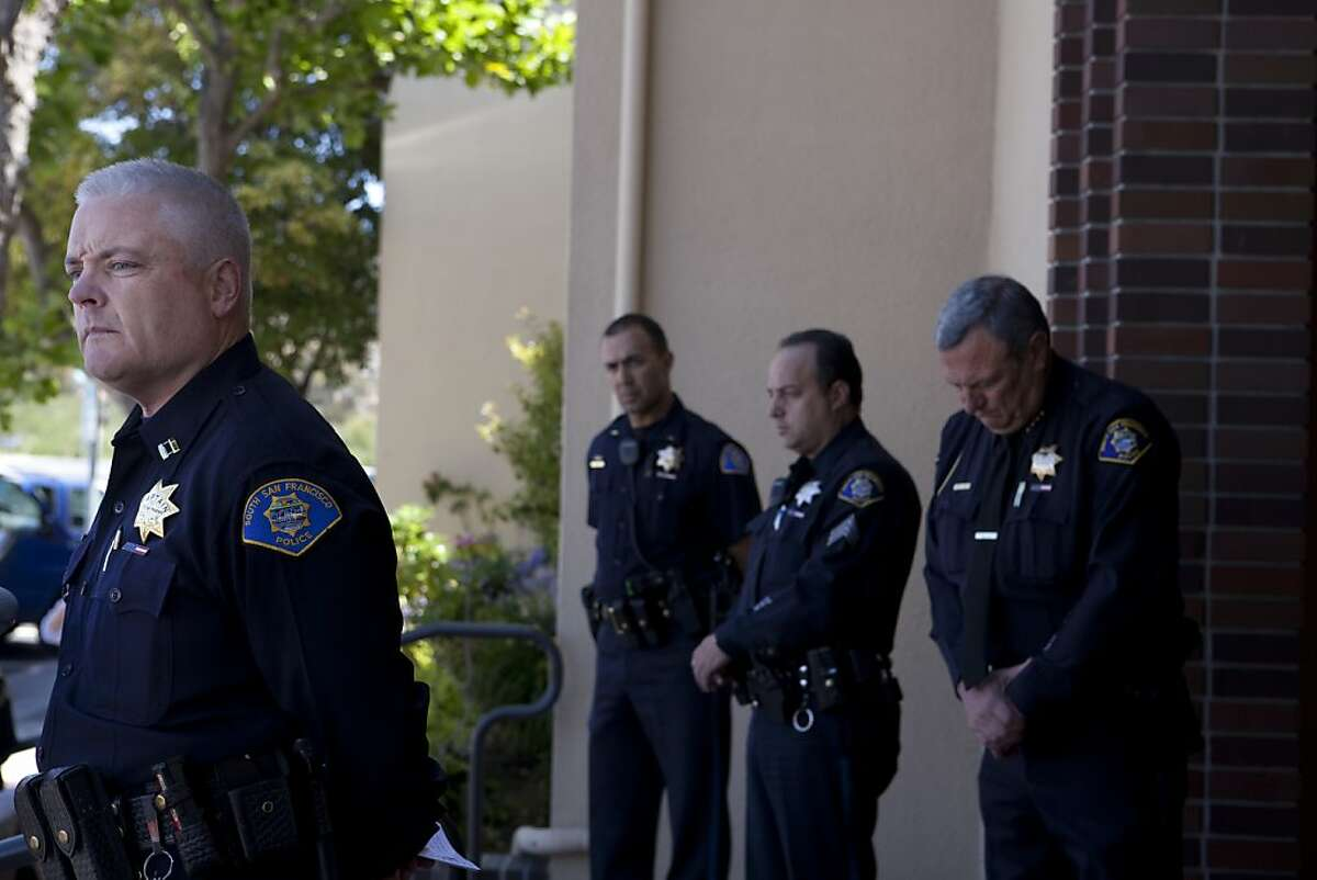 Captain Mike Brosnan (left) holds a press conference at the South San Francisco Police Department for Derrick Gaines, 15, who was shot by Police, on Wednesday, June 7, 2012 in South San Francisco, Calif.
