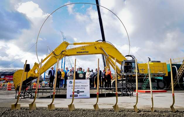 See that giant ring in the photo of the tunnel project groundbreaking? The ring is 57 feet in diameter, the  same size as the tunnel boring machine that will dig the state Route 99  tunnel beneath downtown. Photo: LINDSEY WASSON / SEATTLEPI.COM