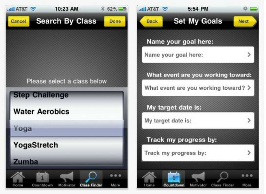 Spotter  What it does: This is specifically for Gold's Gym members and it has the expected gym locater, class finder and calorie counter. It also has a goal countdown feature, which tracks how long till that wedding or reunion. Just set a date and track your progress. One feature we love is the ability to Flipbook yourself. Take progress photos and watch your transformation.Available for: Android, iPhone, iPadHow much it costs: FreeFind it at: GoldsGym.com/community/phone-apps (Contributed Photo / Contributed Photo)