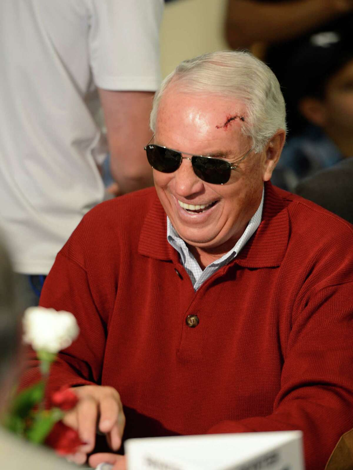 D. Wayne Lukas shows the scar of being kicked in the head by one of his charges at the Post Position Draw for the 2012 Belmont Stakes at Belmont Park in Elmont, N.Y. June 6, 2012. (Skip Dickstein / Times Union)