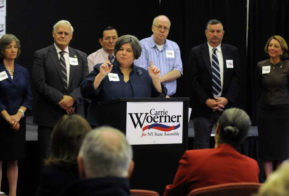 Carrie Woerner of Round Lake Town Board announces her bid for state Assembly to challenge  Republican incumbent Tony Jordan at the Saratoga Art Center in Saratoga Springs N.Y. Wednesday June 6, 2012. (Michael P. Farrell/Times Union) Photo: Michael P. Farrell