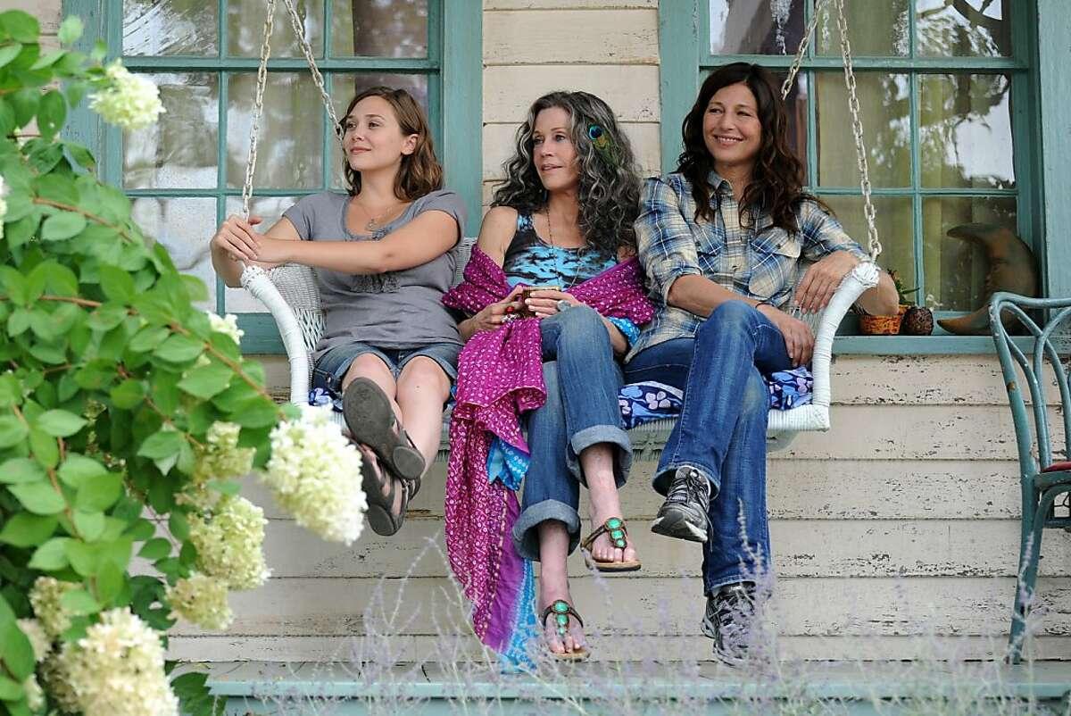 Elizabeth Olsen as Zoe, Jane Fonda as Grace, and Catherine Keener as Diane in Bruce Beresford's PEACE LOVE AND MISSUNDERSTANDING.