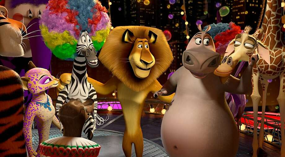 Left to right: Vitaly the Tiger (Bryan Cranston), Gia the Jaguar (Jessica Chastain), Marty the Zebra (Chris Rock), Alex the Lion (Ben Stiller), Gloria the Hippo (Jada Pinkett Smith) and Melman the Giraffe (David Schwimmer) are a circus success in DreamWorks Animation's MADAGASCAR 3:  EUROPE'S MOST WANTED, to be released by Paramount Pictures. Photo: Dreamworks Animation
