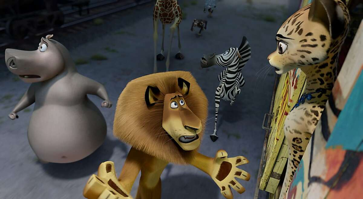 (Clockwise from center) Alex the Lion (Ben Stiller), Gloria the Hippo (Jada Pinkett Smith), Melman the Giraffe (David Schwimmer) and Marty the Zebra (Chris Rock) ask Gia the Jaguar (Jessica Chastain) to help them make a getaway in DreamWorks Animation's MADAGASCAR 3: EUROPE'S MOST WANTED to be released by Paramount Pictures.