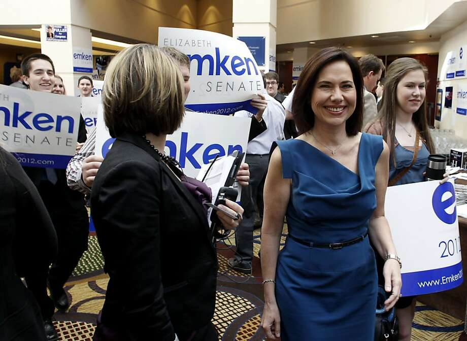 Republican Senate candidate Elizabeth Emken strolls the convention with supporters, during the opening day of the California Republic Party State Convention on Friday Feb. 24, 2012, in Burlingame, Ca. Photo: Michael Macor, SFC