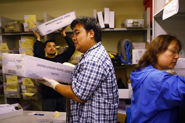 Elliot Bottell (l-r), Joey Manalisay and Sachi Manalisay work to sort ballots at City Hall on Wednesday, June 6, 2012 in San Francisco, Calif. Photo: Pete Kiehart, The Chronicle