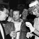 Robin Williams in1987 with Will Durst (left) after Durst lost his run for mayor.
