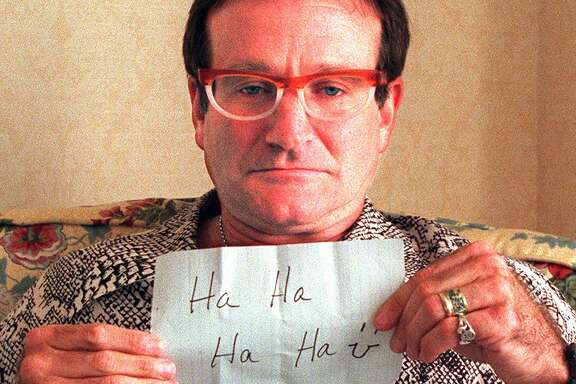 """Actor and comedian Robin Williams during a meet-the-media weekend at the Ritz-Carlton Hotel to promote his new film, """"Jumanji. in November 1995."""