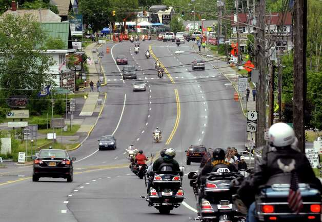 Motorcyclists drive Route 9 in Lake George N.Y. Wednesday June 6, 2012. (Michael P. Farrell/Times Union) Photo: Michael P. Farrell