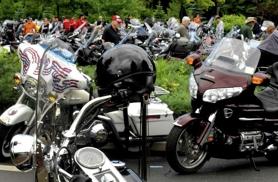 Motorcycles parked off Route 9 in Lake George N.Y. Wednesday June 6, 2012. (Michael P. Farrell/Times Union) Photo: Michael P. Farrell