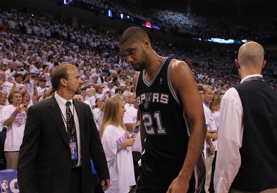 Free-agent-to-be Tim Duncan, 36, will have to make a decision on his future this summer. Photo: Kin Man Hui, Express-News / © 2012 San Antonio Express-News