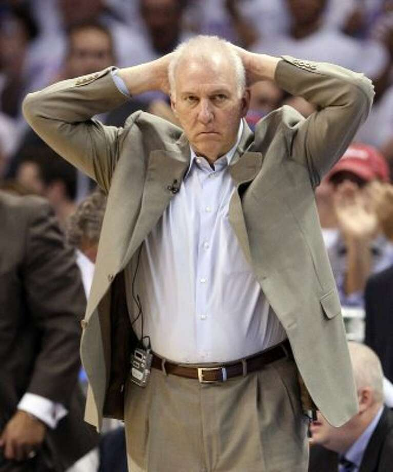 San Antonio Spurs coach Gregg Popovich during the first half of game six of the NBA Western Conference Finals in Oklahoma City, Okla. on Wednesday, June 6, 2012. (Jerry Lara / San Antonio Express-News)