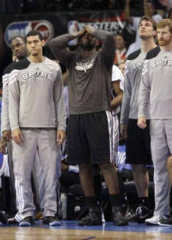 San Antonio Spurs' DeJuan Blair (45) and the rest of the Spurs bench during the second half of game six of the NBA Western Conference Finals in Oklahoma City, Okla. on Wednesday, June 6, 2012.  The Thunder won 107-99. (Jerry Lara / San Antonio Express-News)