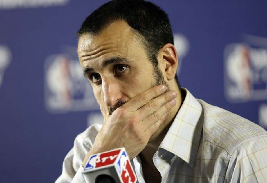 San Antonio Spurs' Manu Ginobili (20) answers questions from the media after game six of the NBA Western Conference Finals in Oklahoma City, Okla. on Wednesday, June 6, 2012.  The Thunder won 107-99. (Jerry Lara / San Antonio Express-News)