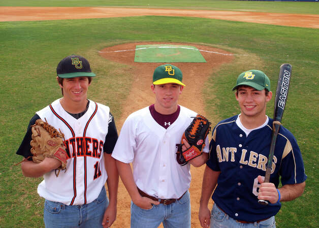 Three of the top returnees in baseball this season are all from Hill Country towns and all have signed with Baylor: Zack Dodson of Medina Valley (from left),  Lawton Langford of Uvalde and Logan Vick of Kerrville Tivy. Feb. 15, 2009. Photo: ROBERT MCLEROY, San Antonio Express-News / SPECIAL TO THE EXPRESS-NEWS