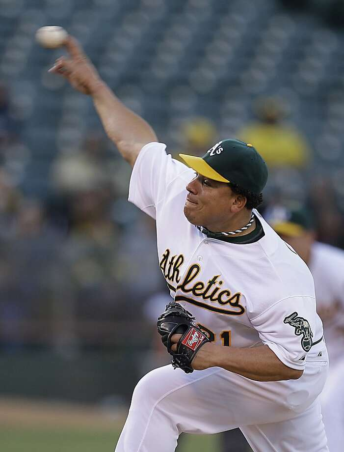 Oakland Athletics'  Bartolo Colon works against the Texas Rangers in the first inning of a baseball game on Wednesday, June 6, 2012, in Oakland, Calif. (AP Photo/Ben Margot) Photo: Ben Margot, Associated Press