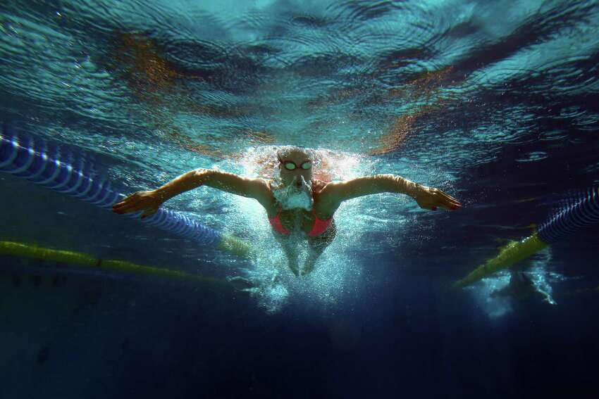 SANTA CLARA, CA - JUNE 03: An unidentified swimmer warms up in the practice pool during day 4 of the Santa Clara International Grand Prix at George F. Haines International Swim Center on June 3, 2012 in Santa Clara, California.