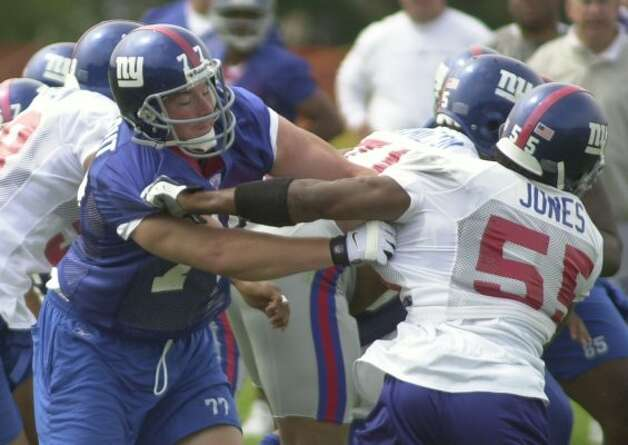 ** FILE **New York Giants tackle Luke Petitgout, left, blocks Dhani Jones during a drill at the Giants' summer training camp at the University at Albany in Albany, N.Y., Thursday, July 25, 2002.  (AP Photo/Tim Roske) (AP)