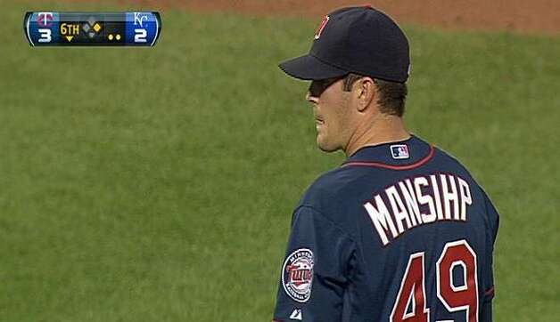 Jeff Manship's name was misspelled on his road jersey when he took the mound in the sixth inning vs. the Kansas City Royals on Wednesday, June 6, 2012. Photo: FSNorth