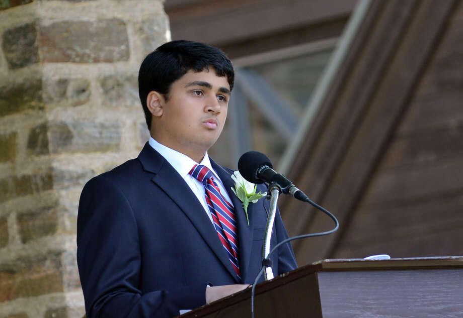 Kishan Patel, Salutatorian, of Westport, during the Greens Farms Academy senior graduation in Westport on Thursday, June 7, 2012. Photo: Amy Mortensen / Connecticut Post Freelance