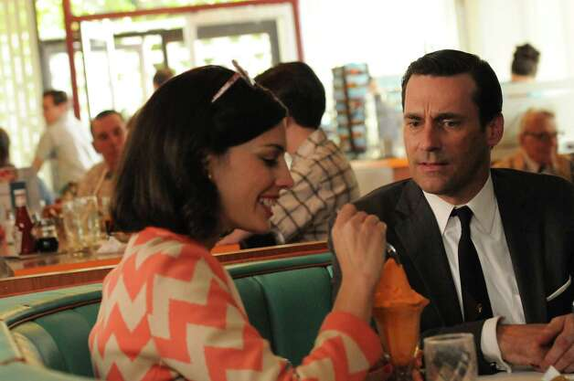 "Megan Draper (Jessica Pare) and Don Draper (Jon Hamm) take a trip to a Howard Johnson's restaurant on ""Mad Men."" Photo: AMC"