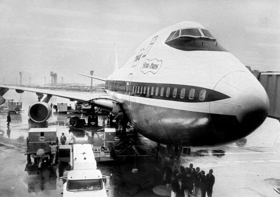 "TWA was next to get a 747, taking delivery of its first jumbo jet on Dec. 31, 1969. Here, the ""Star of Paris"" is seen just after landing at Paris Orly airport, on April 13, 1970, after its first New-York-Paris commercial flight. Photo: -, AFP/Getty Images / 2009 AFP"
