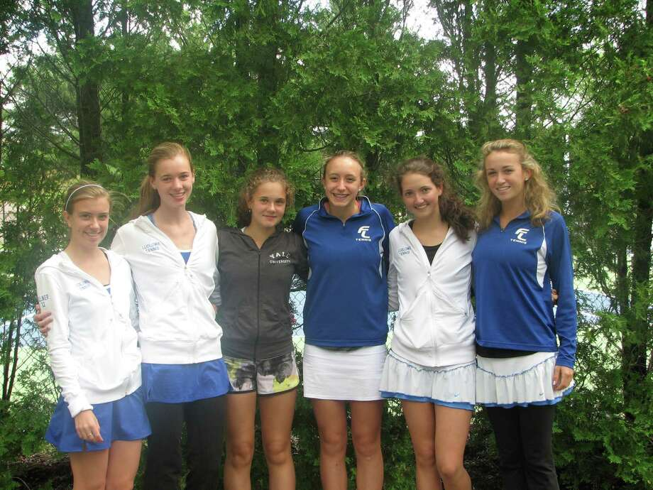 Fairfield Ludlowe's girls tennis team has had six of its 10 varsity team members qualify for the State Open tennis tournament. Pictured, from left, are the qualifiers: Morgan Hilliker, Ellen Kovaleski, Daria Efimov, Lindsey Evans, Liz Waldvogel, Paige McCormick Photo: Contributed Photo