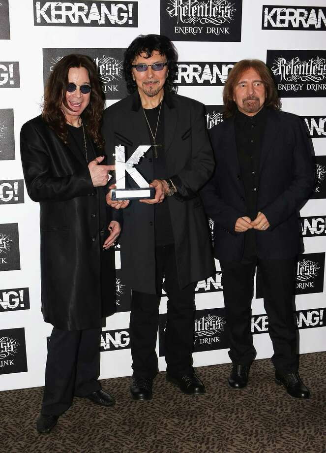 Ozzy Osbourne, Tony Iommi and Geezer Butler of Black Sabbath with their Inspiration Award during the Kerrang! Awards at The Brewery on June 7, 2012 in London, England. Photo: Tim Whitby, Getty Images / 2012 Getty Images