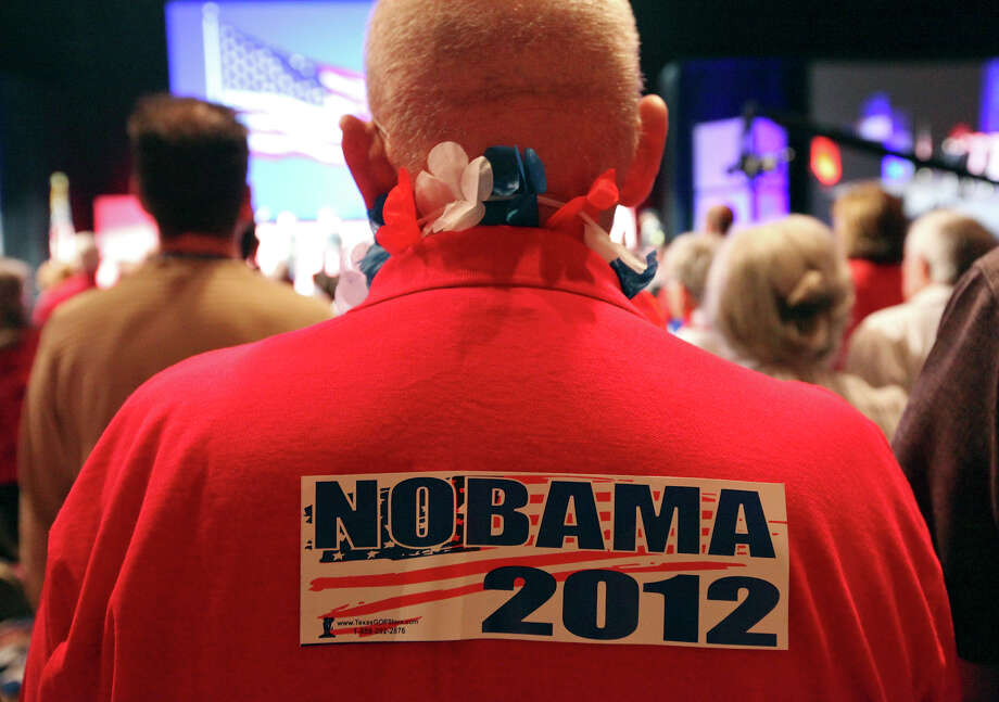 "A man wears a ""NOBAMA 2012"" sticker during the 2012 Texas GOP Convention held at the Fort Worth Convention Center Thursday June 7, 2012 in Fort Worth, Texas. Photo: Edward A. Ornelas, San Antonio Express-News / © 2012 San Antonio Express-News"